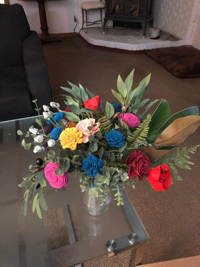 sola wood flower bouquet